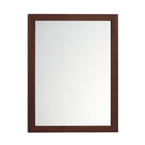 solid wood framed bathroom mirror in american walnut