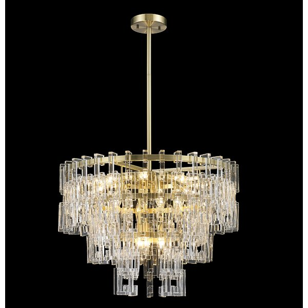 Hadfield 15 - Light Unique / Statement Tiered Chandelier with Crystal Accents by Everly Quinn Everly Quinn