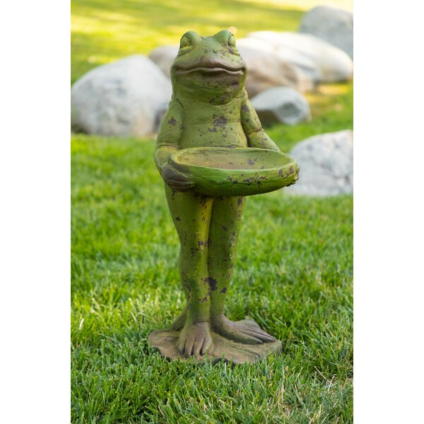 Frog with Statue Birdbath by Alpine