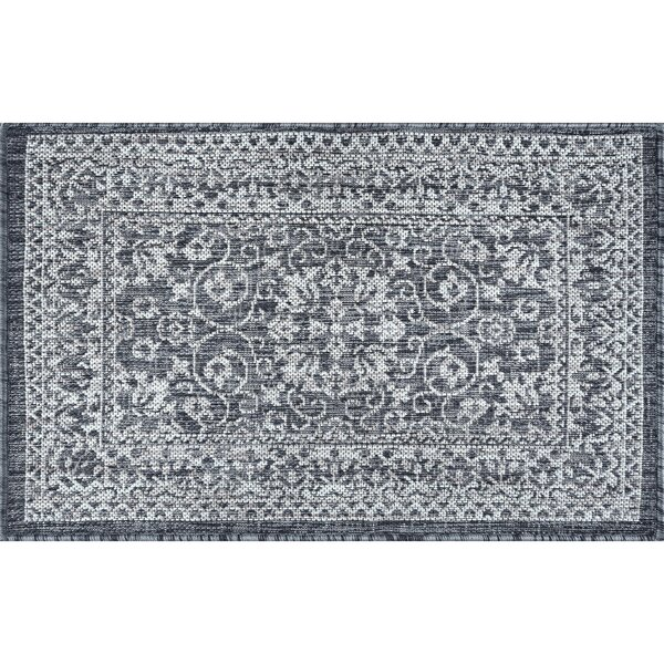 Hayle Transitional Floral Charcoal Indoor/Outdoor Area Rug by Alcott Hill