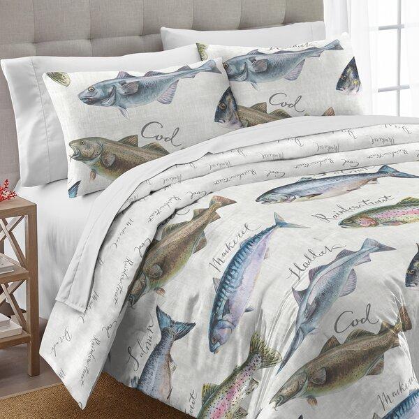 Sirena Gone Fishing Cotton 3 Piece Comforter Set by Loon Peak