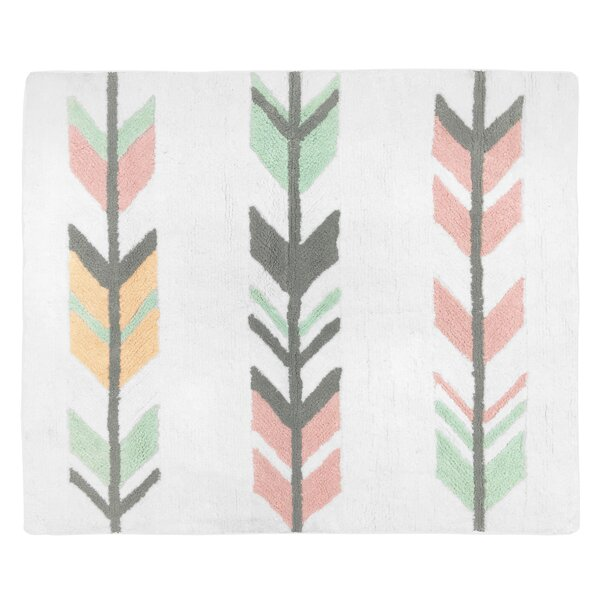 Floor Cotton Gray/Coral Area Rug by Sweet Jojo Designs