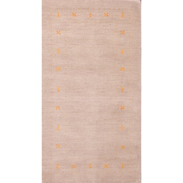 Ferrero Gabbeh Oriental Hand-Knotted Wool Beige/Ivory Area Rug by Bloomsbury Market