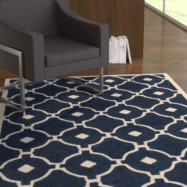 Kroeger Navy/Ivory Area Rug by Latitude Run