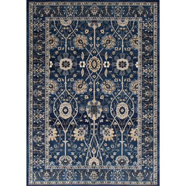 Woodson Floral Thunder Blue Area Rug by Astoria Grand
