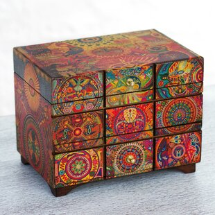 Fair Trade Artisan Crafted The Sun, The Shaman, and The Peyote Flower'  Mexican Pinewood Jewelry Box By Novica