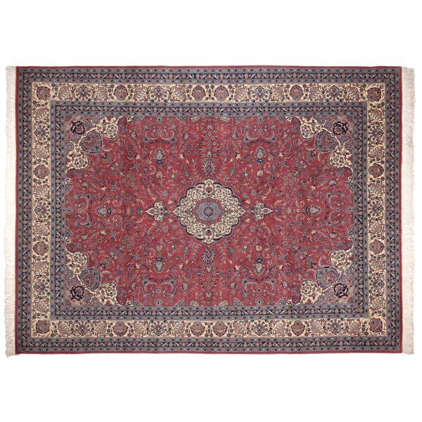 One-of-a-Kind Super Fine Hand-Woven Wool Red/Blue Area Rug by Exquisite Rugs