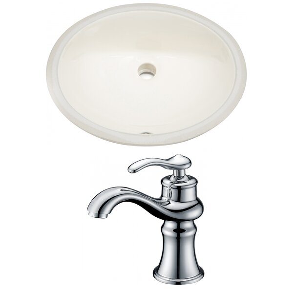 CUPC Ceramic Oval Undermount Bathroom Sink with Faucet and Overflow