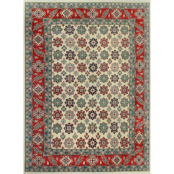Sharpe Hand-Knotted Wool Blue/Red Area Rug by Loon Peak