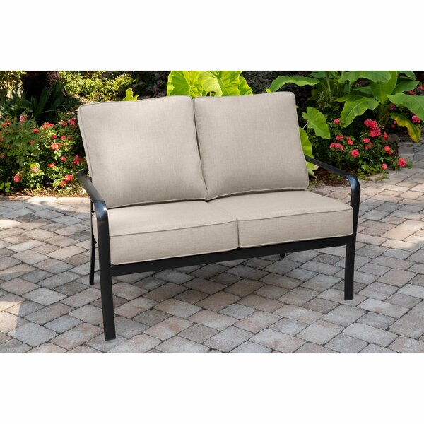 Colson Commercial-Grade Aluminum Loveseat with Plush Sunbrella Cushions by Gracie Oaks