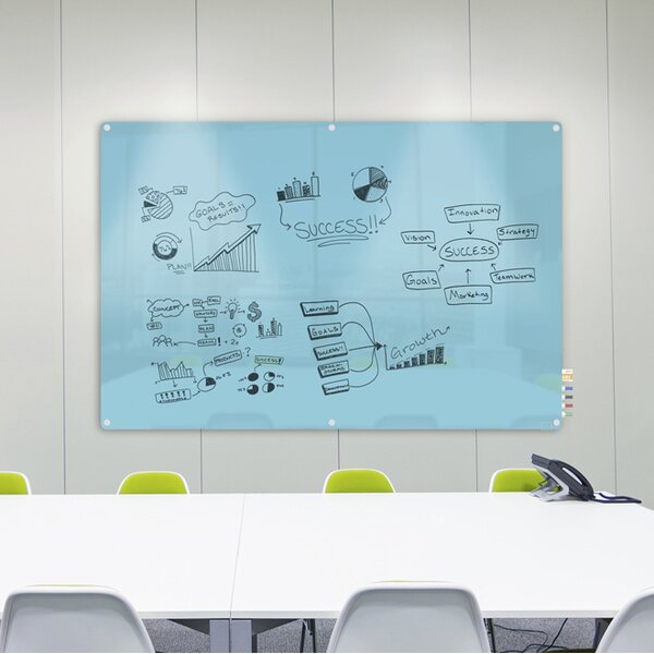 Ghent Harmony Magnetic Glass Whiteboard with Radius Corners by Ghent