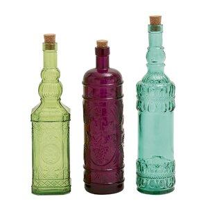 Djanira 3 Piece Colorful Glass Stopper Bottle Set