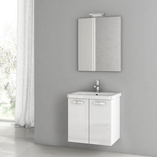City Play 24 Wall-Mounted Single Bathroom Vanity Set with Mirror by ACF Bathroom Vanities