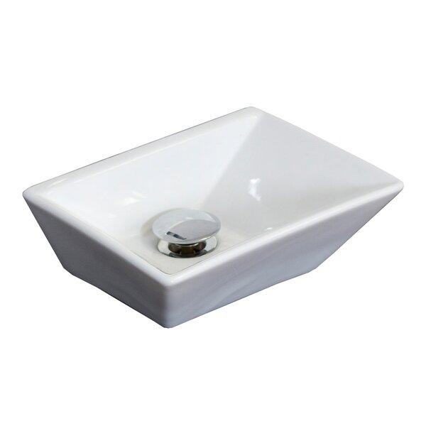 Ceramic Rectangular Vessel Bathroom Sink by American Imaginations