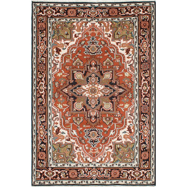 One-of-a-Kind Larsen Hand-Knotted Dark Copper/Beige Area Rug by Bloomsbury Market