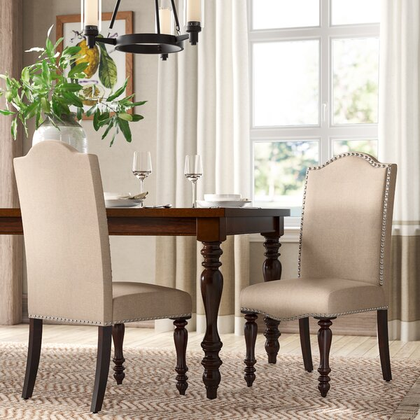 Calila Linen Dining Chair in Beige (Set of 2) by Darby Home Co Darby Home Co
