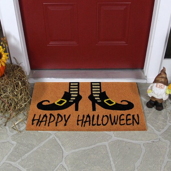 Happy Halloween And Wicked Witch Shoes Door Mat 18 X 30