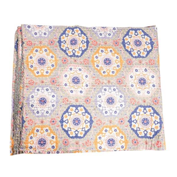 Vintage Kantha Indian Handmade Floral Cotton Throw by Joseph Allen