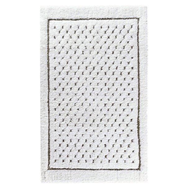 ForanLinen Waffle Cotton Blend Polka Dots Bath Rug