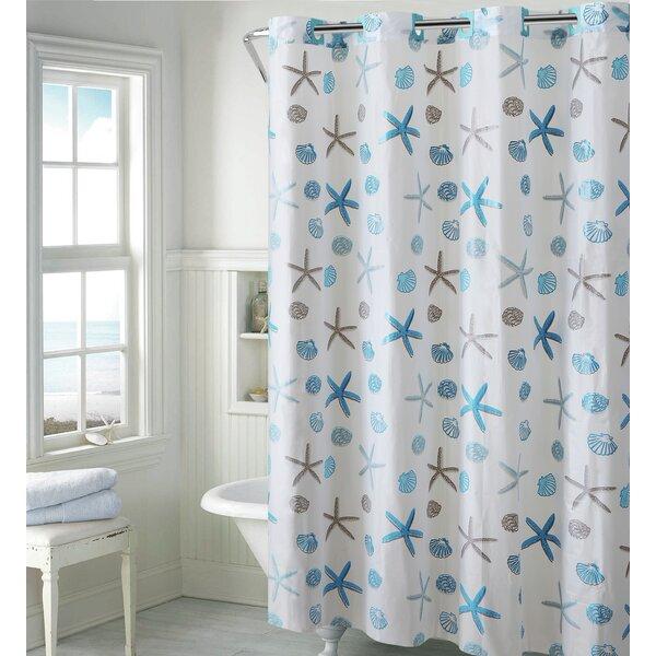 Red Hookless Shower Curtain Part - 50: Seashell Shower Curtain