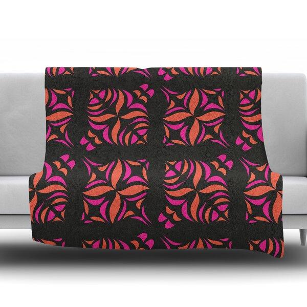 Orange on Black Throw Blanket by KESS InHouse