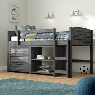 Affordable Evan Twin Low Loft Bed with Storage Drawers and Bookcase By Birch Lane™