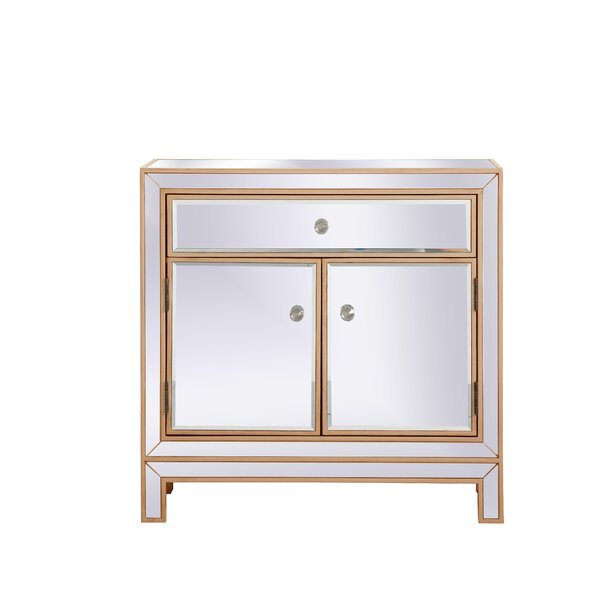 Aubrielle Mirrored 2 Door Accent Cabinet by House of Hampton House of Hampton
