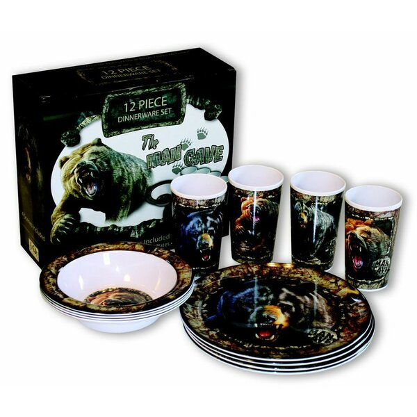 Man Cave Melamine 12 Piece Dinnerware Set, Service for 4 by MotorHead Products