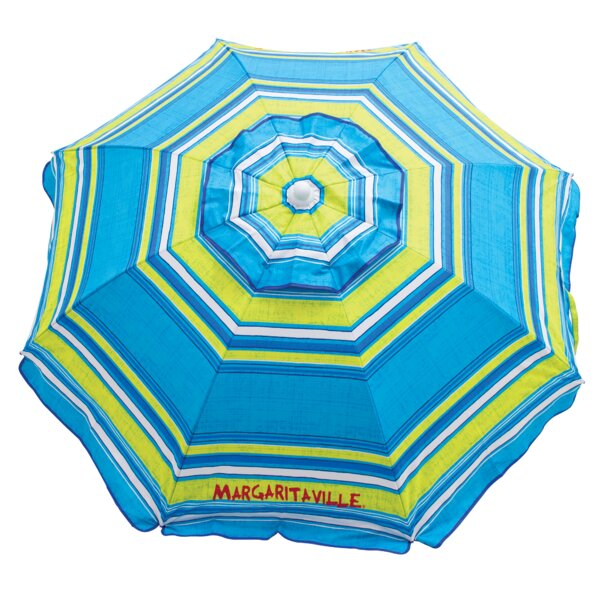 Margaritaville 6' Green And Blue Striped Beach With Built-In Sand Anchor Umbrella By Rio Brands
