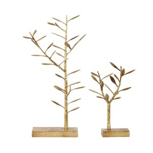 2 Piece Metal Tree Table Top Jewelry Stand Set by Urban Trends
