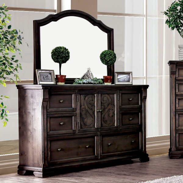 Bluxome 6 Drawer Double Dresser with Mirror by Canora Grey