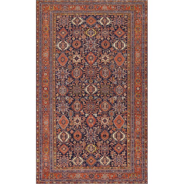 One-of-a-Kind Antique Serapi Handwoven Wool Orange/Blue Indoor Area Rug by Mansour