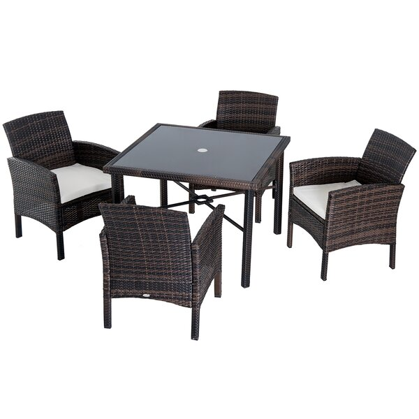 Brett 5 Piece Dining Set with Cushions by Charlton Home