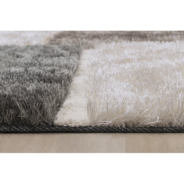 Contemporary Shaggy Hand-Tufted White/Gray/Black Area Rug by LYKE Home