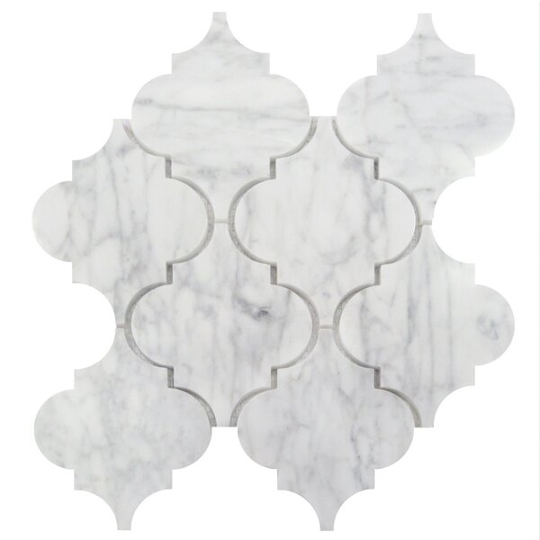 Arabesque 5 x 6 Marble Mosaic Tile in Carrara White by Luxsurface