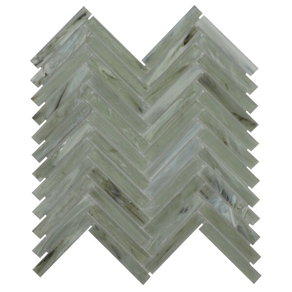 Acuto 11.1 x 11.3 Glass Mosaic Tile in Green/Gray by Byzantin Mosaic
