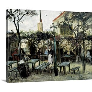 'Terrace of the Cafe La Guinguuette' by Vincent Van Gogh Painting Print on Wrapped Canvas by Great Big Canvas