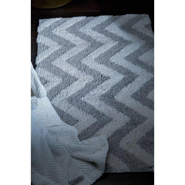 Hizer Arrow Rectangle Cotton Blend Non-Slip Geometric Bath Rug
