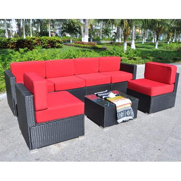 SkeltinCleveland Outdoor All-Weather 7 Piece Rattan Sectional Seating Group with Cushions by Ivy Bronx