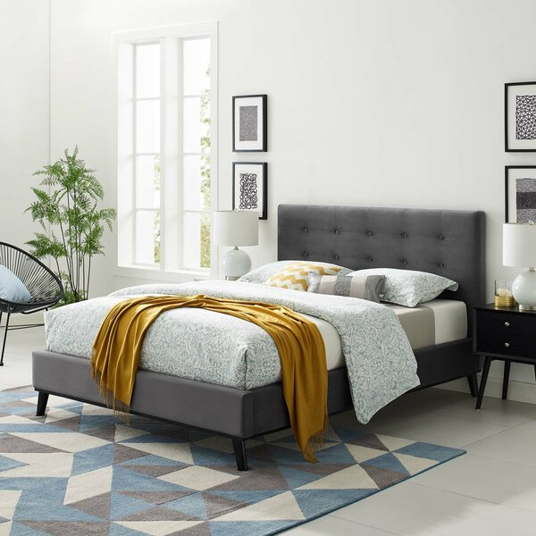Dolan Biscuit Tufted Queen Upholstered Platform Bed by Rosdorf Park