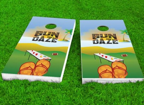 Sun Daze Cornhole Game (Set of 2) by Custom Cornhole Boards