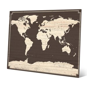 'World Map on Dark Wood' Graphic Art by Click Wall Art