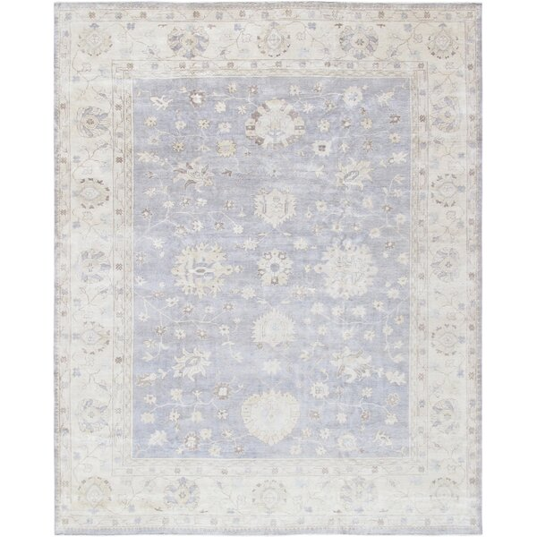 Oushak Hand-Knotted Wool Gray/Ivory Area Rug by Pasargad