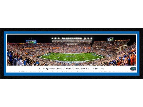NCAA Florida Gators Football 50 Yard Line Framed Photographic Print by Blakeway Worldwide Panoramas, Inc