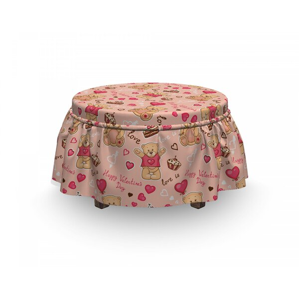 Valentines Bear Cake Balloon 2 Piece Box Cushion Ottoman Slipcover Set By East Urban Home