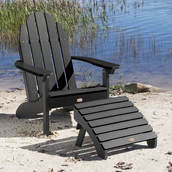 Detrick Plastic Adirondack Chair with Ottoman by Breakwater Bay Breakwater Bay