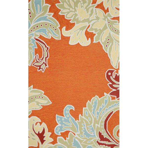 Cosmo Ornamental Leaf Border Orange Indoor/Outdoor Area Rug by Latitude Run