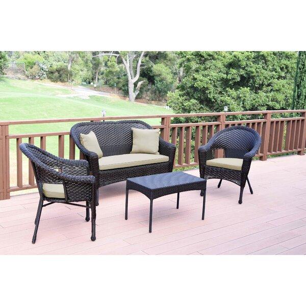 Yamada Conversation 4 Piece Sofa Seating Group with Cushions by Bay Isle Home