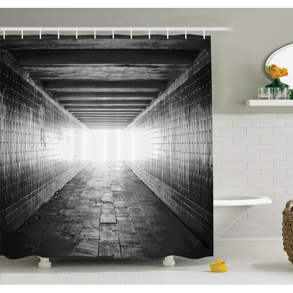 Horror House Picture of Light at the End of Tunnel Exit Fear City Abandoned Shower Curtain Set by Ambesonne