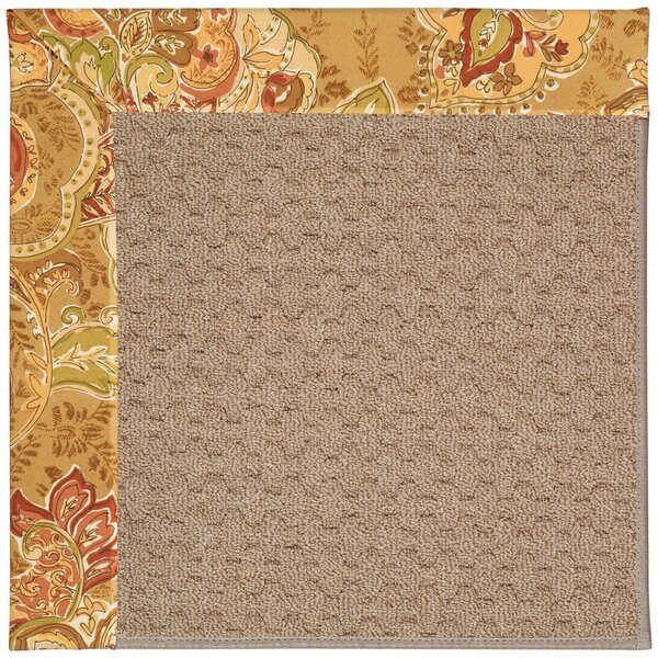 Lisle Machine Tufted Bronze Flowers and Beige Indoor/Outdoor Area Rug by Longshore Tides